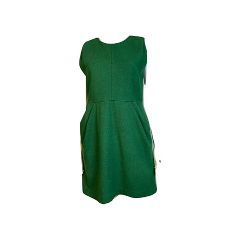 Voll Green Wool Fitted Sheath Mini Dress