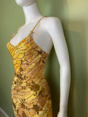 Ethereal Floral Festival Beaded Sequin Yellow Silk Maxi Dress
