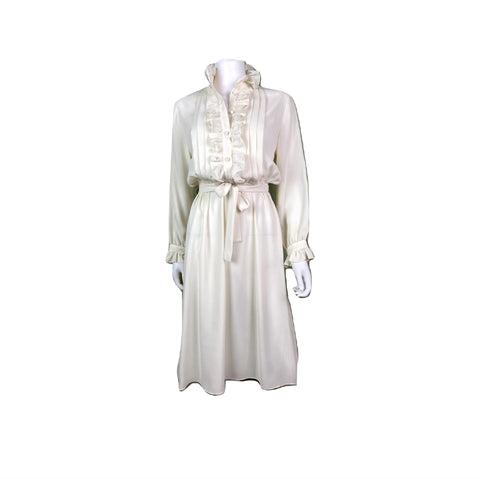 Vintage Astor One White Sheer Ruffle Pleated Fluid Disco Dress
