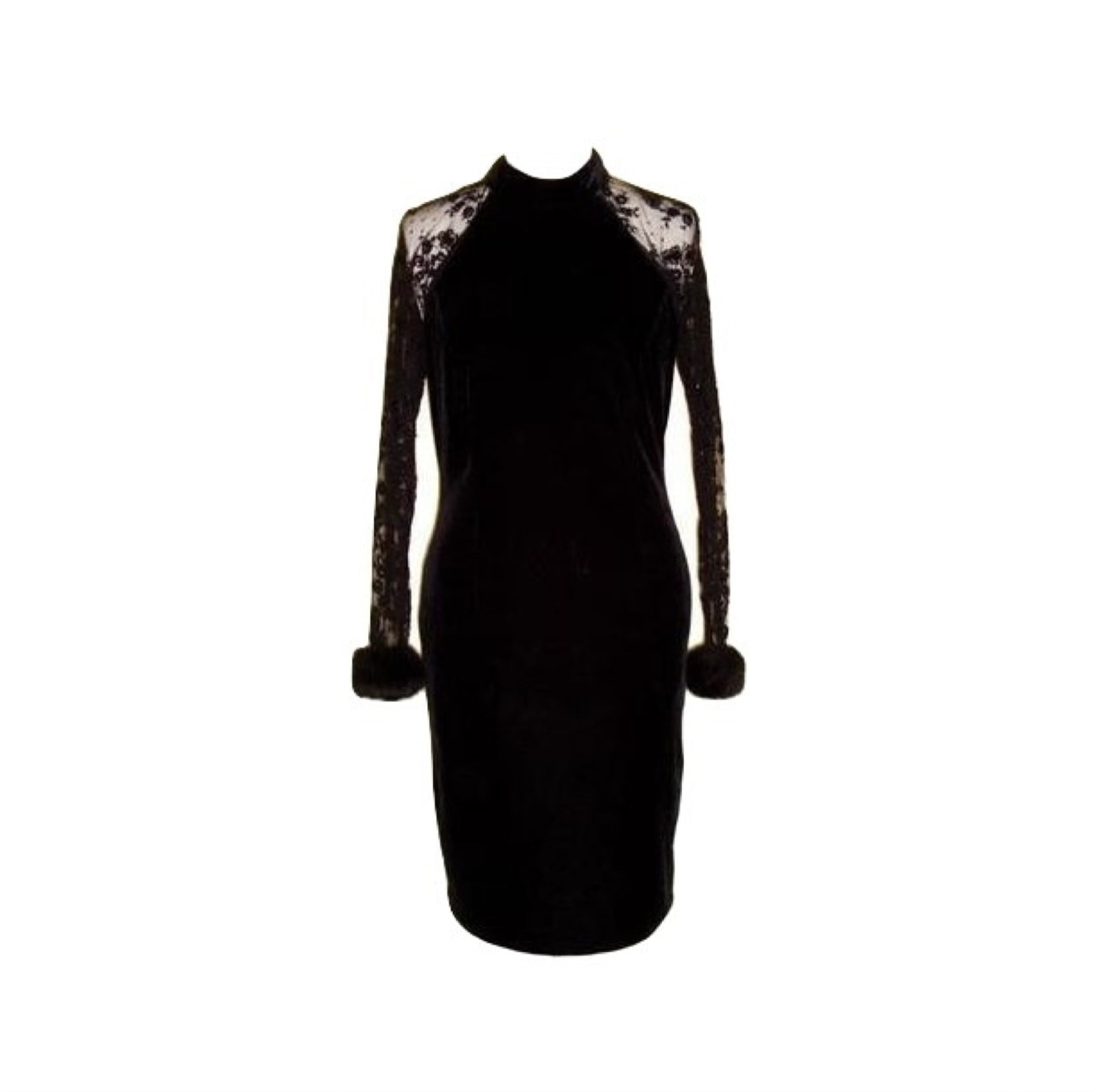 Vintage Black Velvet Lace Sequin Fur Cuffs Dress