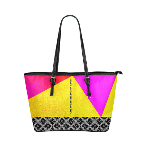 Abstract Text Logissimo Jane Leather Tote Bag