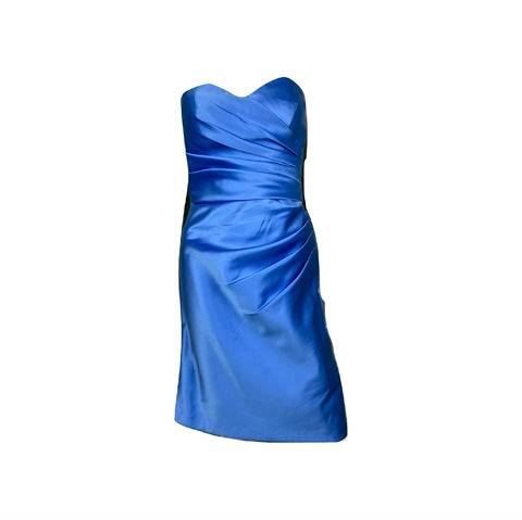 Sky Blue Satin Pleated Sweetheart Bustier Dress