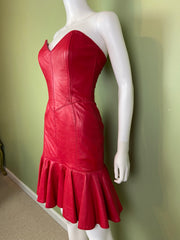 [SOLD] Vintage Michael Hoban Red Leather Bustier Ruffle Mini Dress
