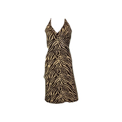 Vintage Brown Cheetah Print Sequin Stretch Wrap Dress