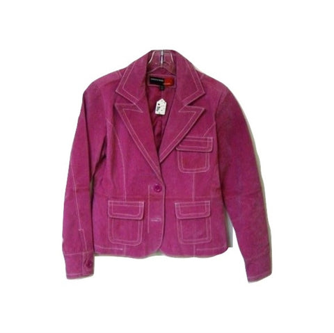 Hot Pink Leather Blazer Jacket White Stitching Wide Collar Sz Small