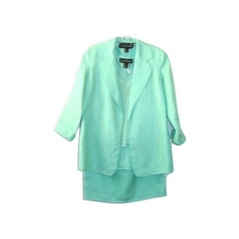 Linda Allard Ellen Tracy 3 Pc Green Linen Skirt Suit Petite