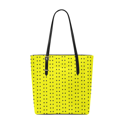 Polka Stripe Classic Leather Tote Bag