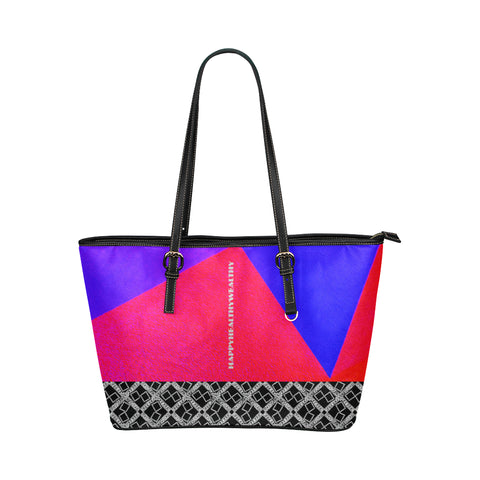 Abstract Text Logo Jane Leather Tote Bag
