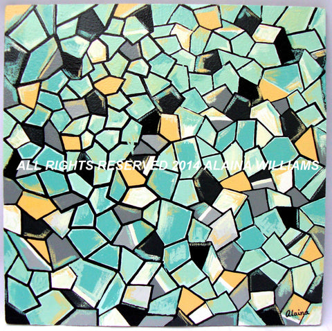 Dimensions II Original Painting Blue Yellow Black White Turquoise Gray by Alaina