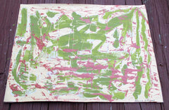 SOLD - Green Pink Abstract Panting on Vintage Paper