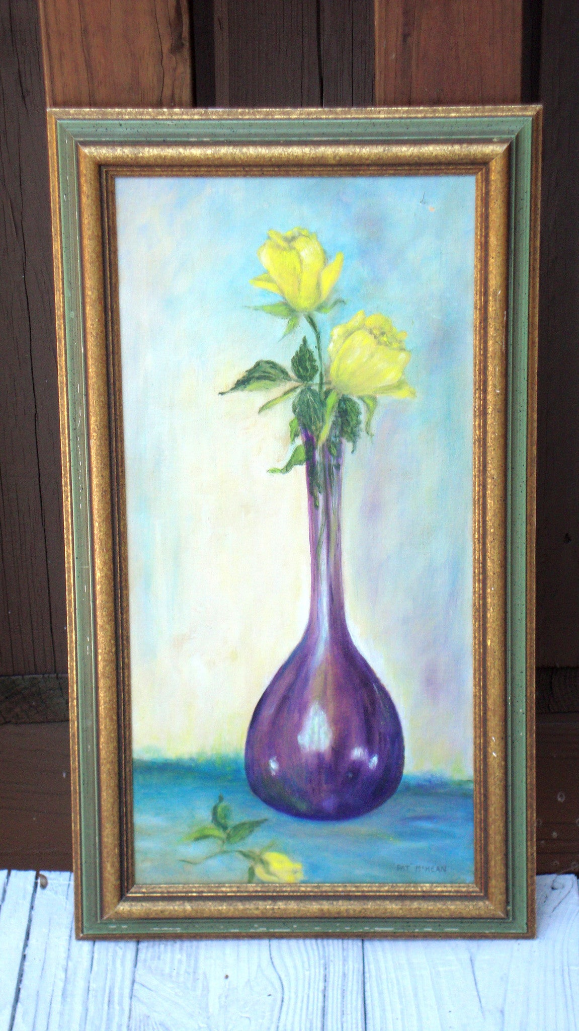 Vintage Mid-Century Yellow Flowers in a Purple Vase Painting