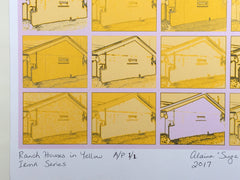"Suga Lane ""Ranch Houses"" in Yellow Artist's Proof 1/1 from Irma Series"