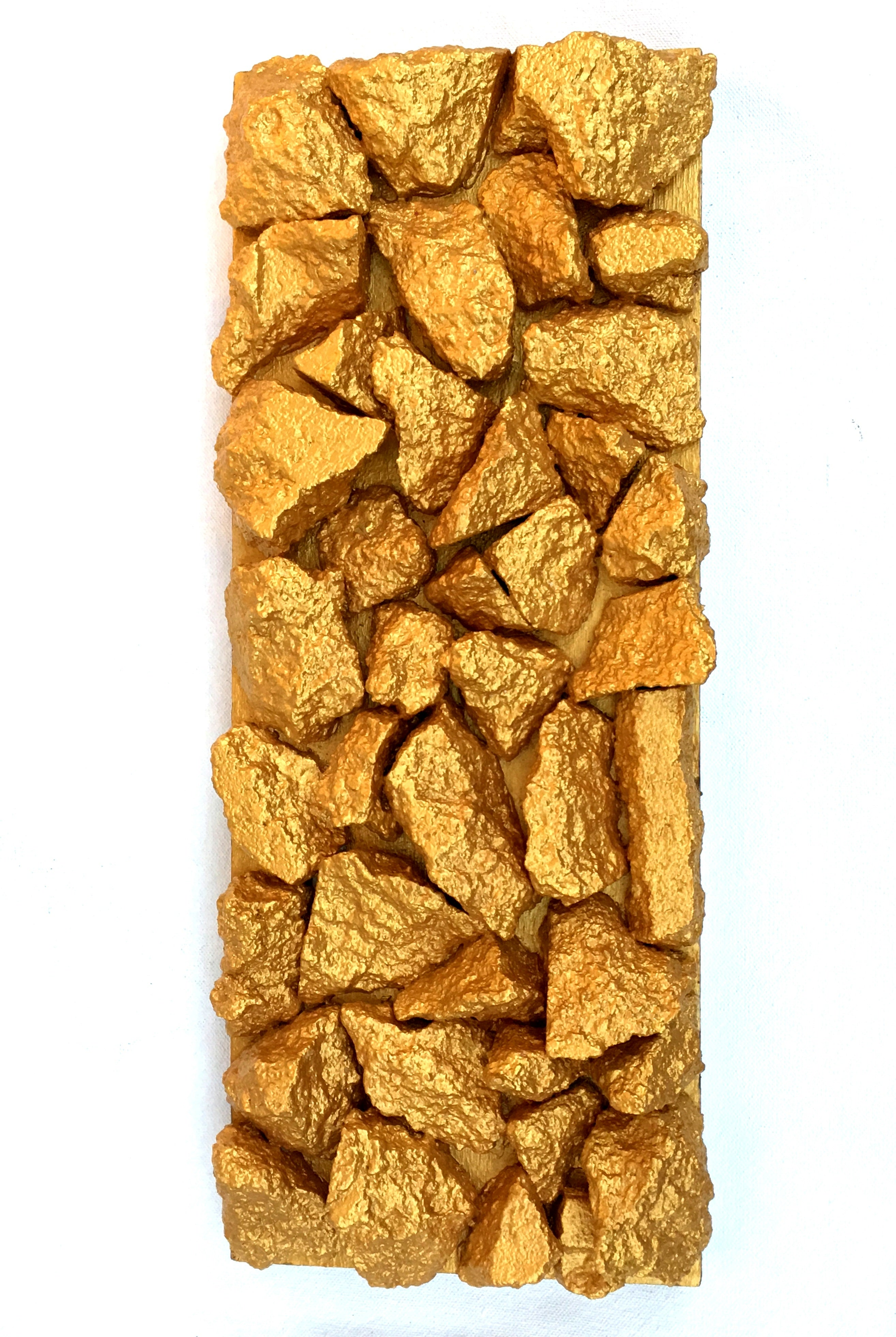 """Gilt Duplicidad""Gold Concrete Rock Sculpture 1/2"