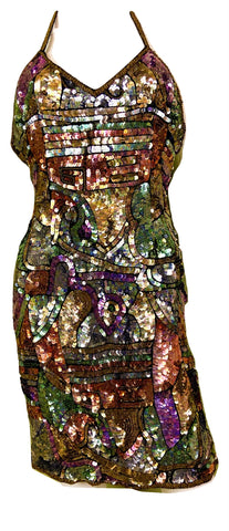 Vintage Fantasy Lisa Kane Sequin Silk Disco Cocktail Dress