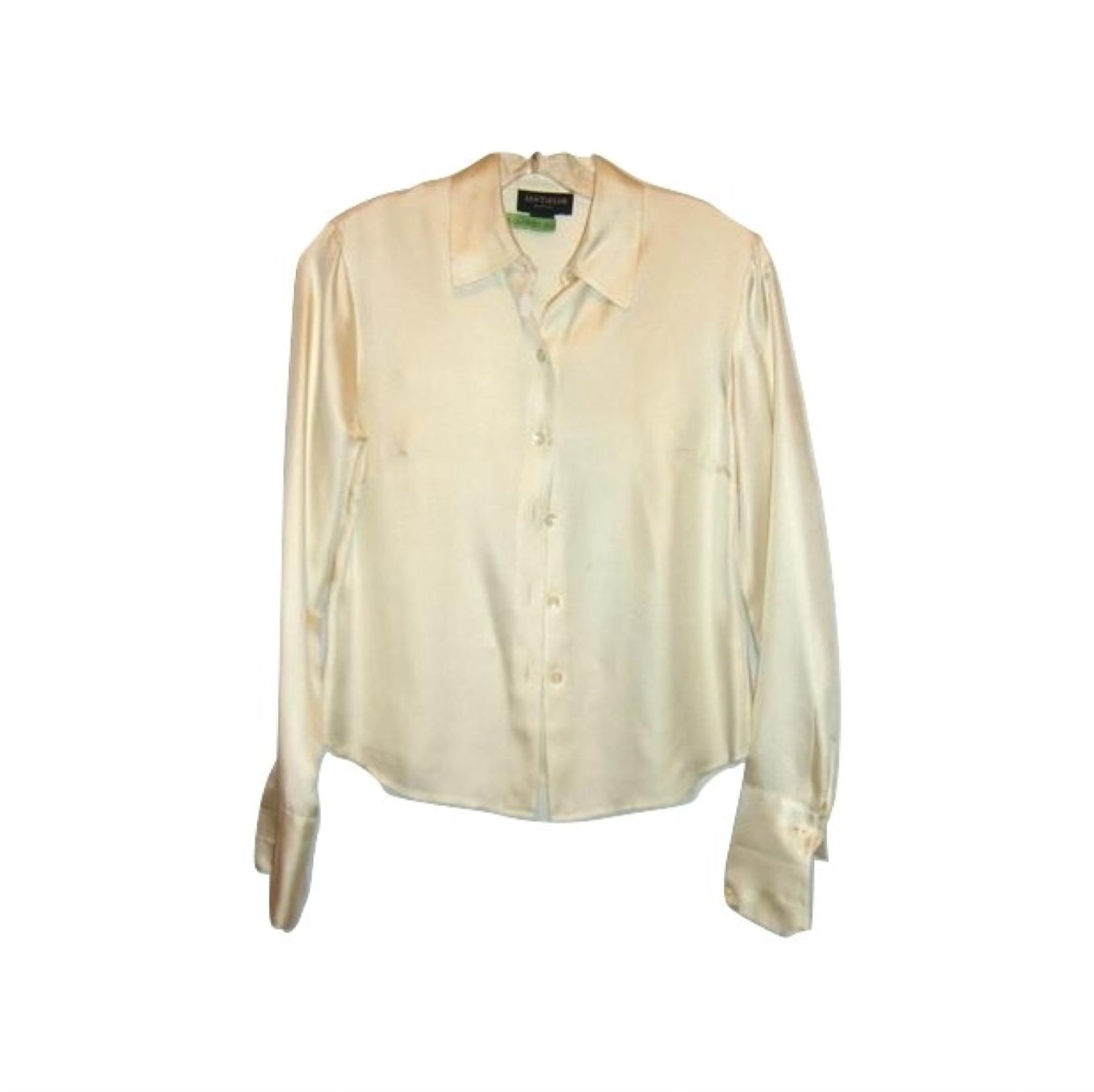 Talbots Cream White Silk Career Cocktail Blouse 4 Small 100% Silk