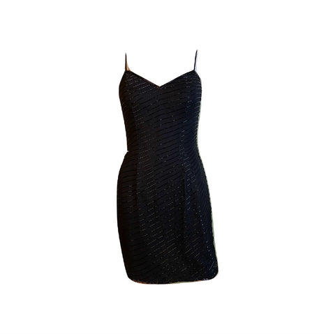 Vintage Black Beaded Sequin Silk Bustier Cocktail Dress