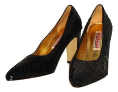 Vintage 80s does 40s BLACK SEQUINED great gatsby PUMPS SZ 9M LEATHER SOLE SHOES