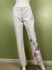 Vintage White Lambskin Leather Pink Graphic Print Pants