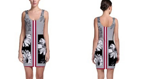 Suga Lane Floral Deviant Gray Black Red Stripe Sleeveless Cocktail Dress