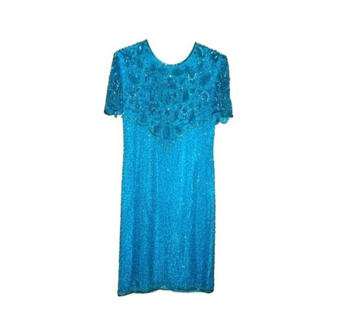 Vintage American Nights – Turquoise Beaded, Sequined Formal Dress Sz S 6-8 ?