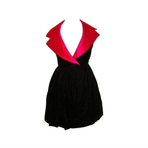Vintage Glam Black Velvet Cocktail Pink Satin Collar Goth Dress Small 6