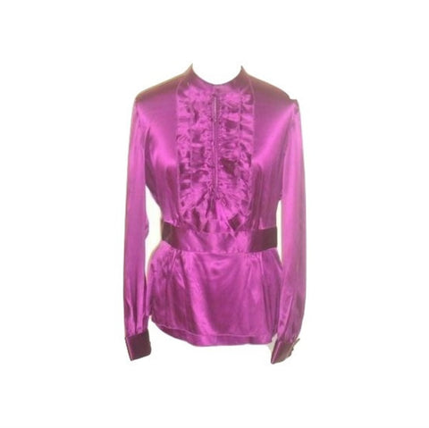 Moda International Purple Silk Ruffle Victorian French Blouse