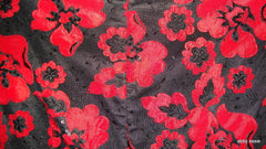 CHANSARB BLACK RED SHEER SATIN FLORAL APPLIQUE ASIAN COCKTAIL WIGGLE CLUB XS [0