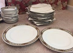 Charles Fields Haviland Limoges China Set 77 Pc Gold Gilt Floral Pink Blue Yellow