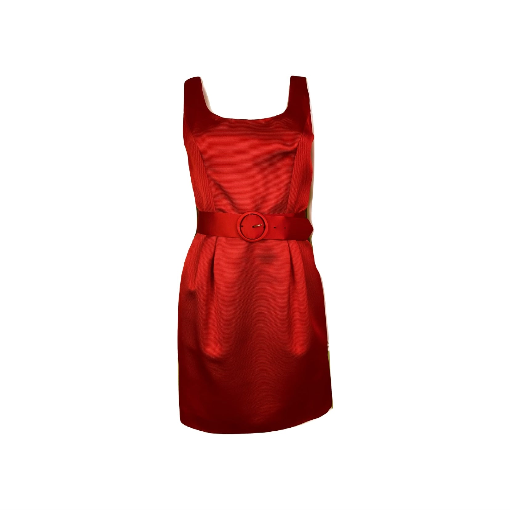 Red Silk KENAR Cocktail Sheath Mini Dress