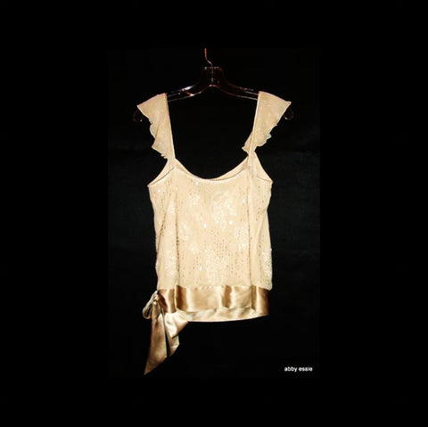 Beaded Cream White Silk Sheer Layered Tank