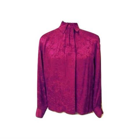 Vintage Violet Purple Embossed Silk Blouse