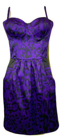 Purple Satin Bustier Cocktail Dress