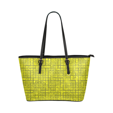 Grid Jane Leather Tote Bag
