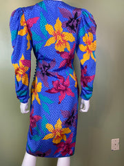 Vintage Silky Blue Floral Wrap Dress