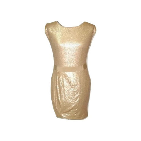 NWT LAUNDRY Shelli Segal Cream Nude Sequin Stretch Cocktail Formal Dress