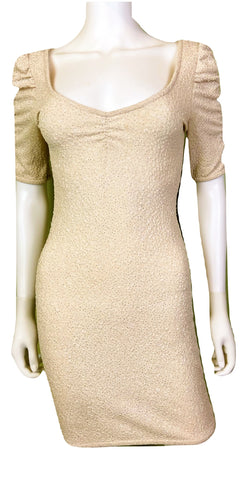 Glittery Beige Textured Stretch Cocktail Dress