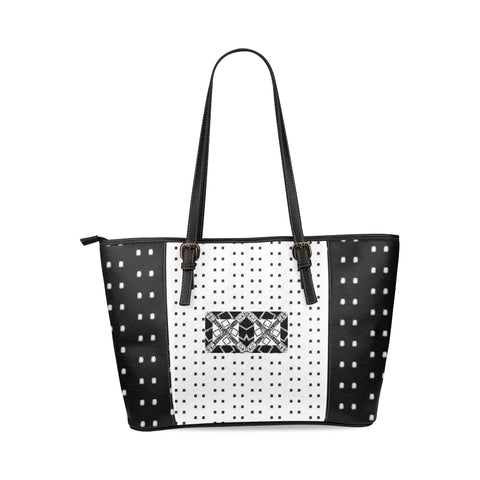 Logo Polka Stripe Alba Leather Tote Bag