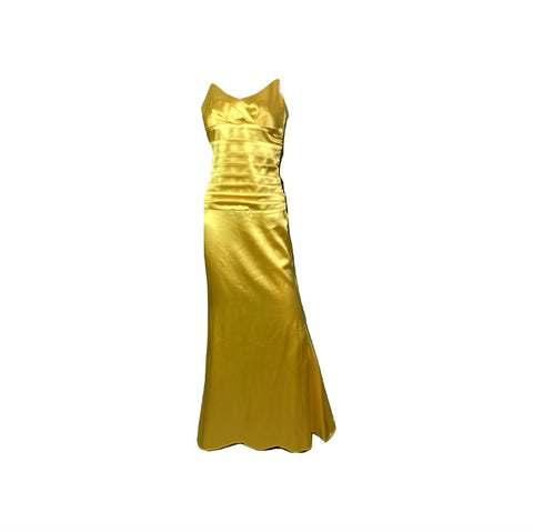 Golden Yellow Satin Pleated Tuxedo Gown