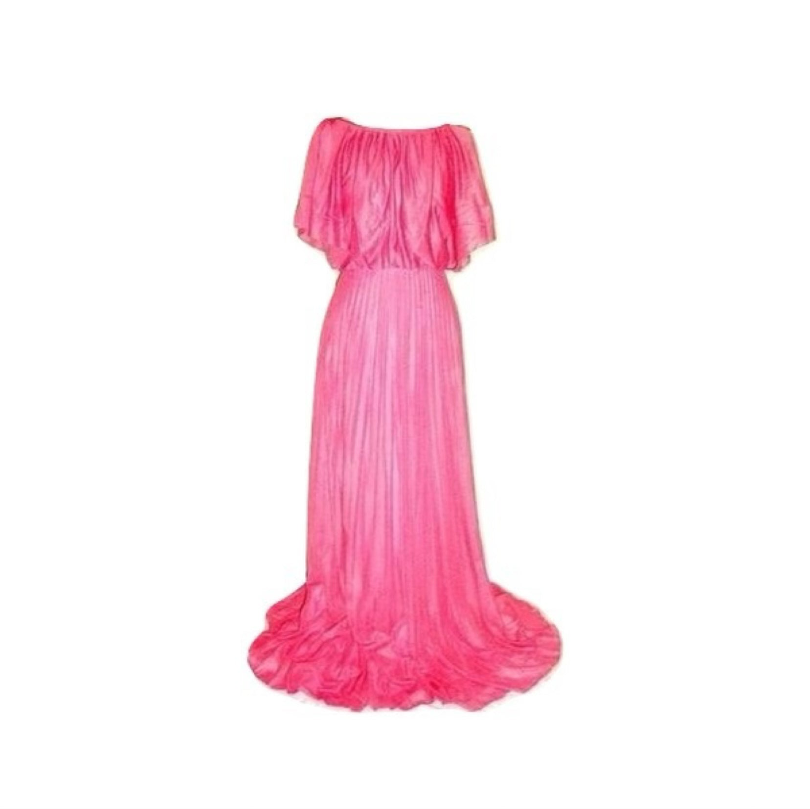 Vintage Pink Tie Shoulder Crepe Pleated Skirt Gown
