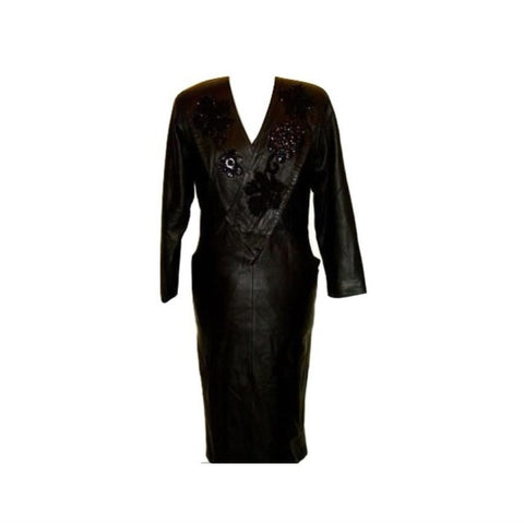 Vintage Black Leather Suede Sequin Dress Diane's Fur & Fashions