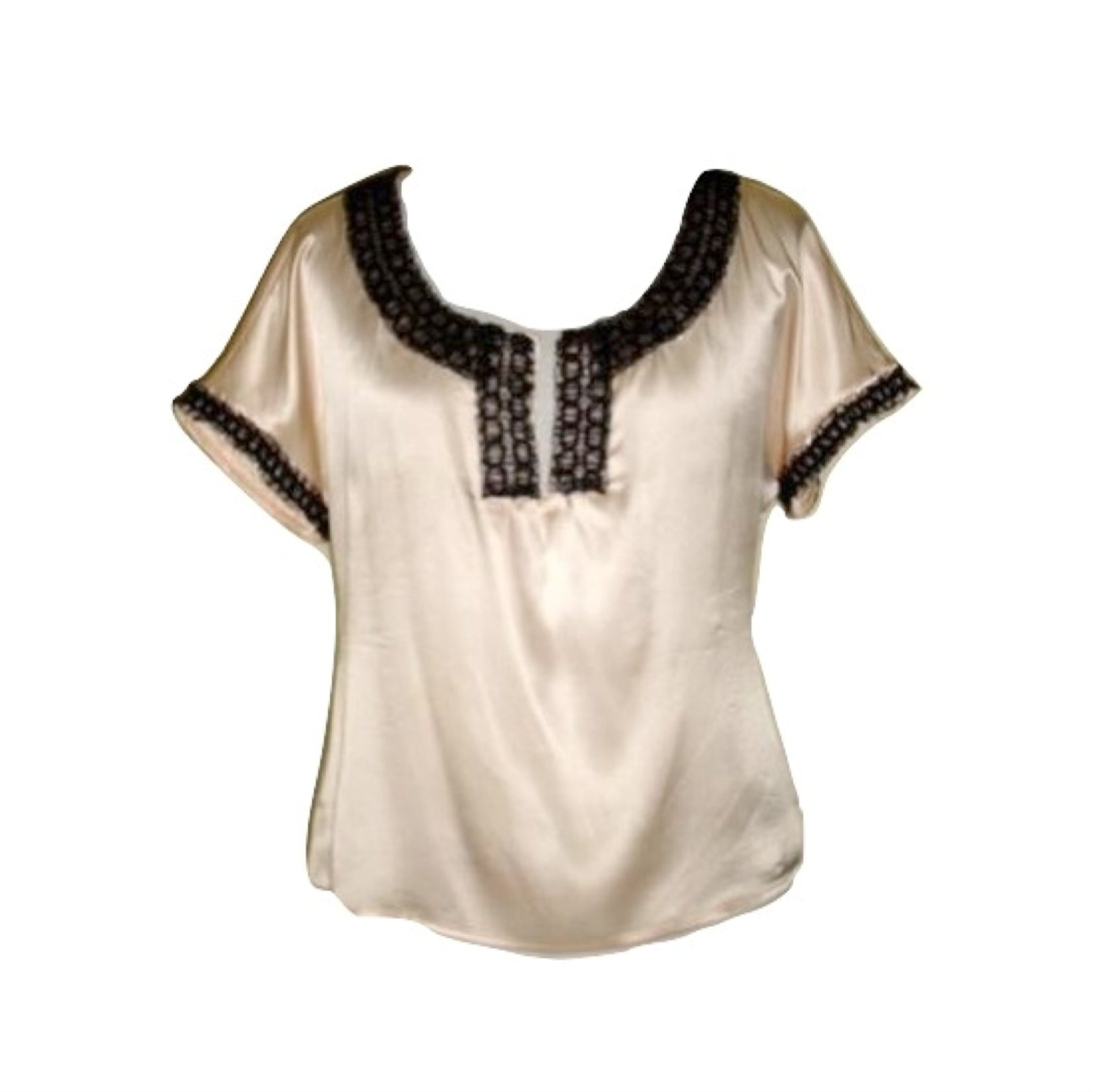 PARAMETER CREAM SILK TOP W/ BLACK CHIFFON MEDIUM 100% SILK