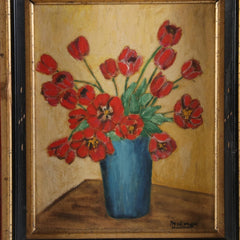 Red Flowers in Blue Vase Floral Oil Painting