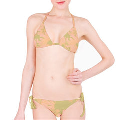 Suga Lane Floral Delights Peach Nude Tan Bikini Swimsuit