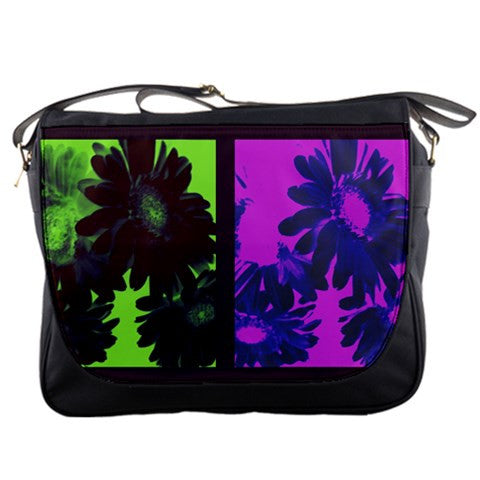 Deviant Floral Green Purple Black Large Messenger Bag
