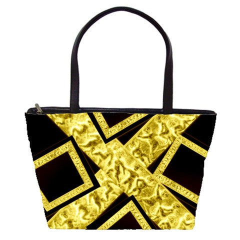 Suga Lane Black Gold Logo Shoulder Bag