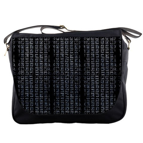 Grid Matrix Black Gray Large Messenger Bag
