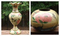 vintage 2 PC EXOTIC asian INDIAN HAND PAINTED BRASS VASE AND BOWL SET