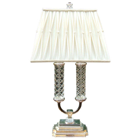 [Sold] STIFFEL FRATELLI CUT CRYSTAL GLASS SILVER BRASS LAMP