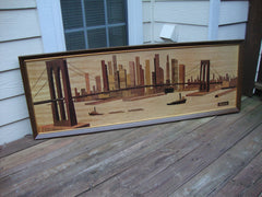 VINTAGE MID-CENTURY ARTIST SEIVAD NEW YORK BROOKLYN BRIDGE WOOD CARVING PRINT SOFA PAINTING
