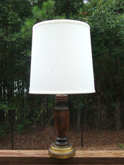VINTAGE BRASS SCULPTED WALNUT WOOD REAL METAL LAMP W/ PLEATED FABRIC SHADE